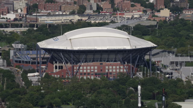 aerial of us open stadium with rooftop - 2016 stock videos and b-roll footage