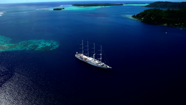 aerial of vacation cruise ship in south pacific - orizzonte sull'acqua video stock e b–roll