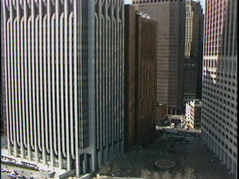 aerial of various buildings along tip of lower manhattan continental center 120 wall street 55 water street 2 ny plaza 1 ny plaza - ward stock videos & royalty-free footage