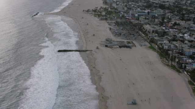 aerial of venice beach at sunset, los angeles, ca - santa monica stock videos and b-roll footage
