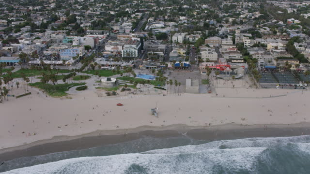 Aerial of Venice Beach at sunset, Los Angeles, CA