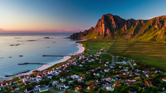 aerial of village bleik - lofoten islands in norway - village stock videos & royalty-free footage