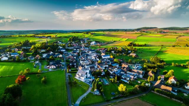 Aerial of Village in Rural Landscape in North Rhine Westphalia, Germany