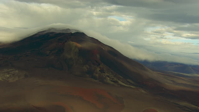 Aerial of volcano, clouds, Iceland, September 2010