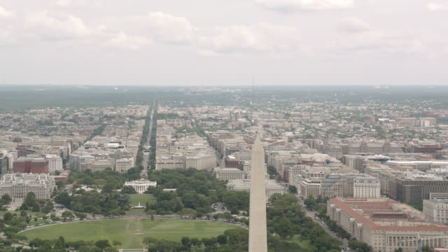 aerial of washignton dc skyline. washington monument and white house visible. - government building stock videos and b-roll footage