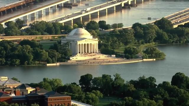 aerial of washington dc moving toward the washington monument and then the jefferson memorial - jefferson memorial stock videos & royalty-free footage