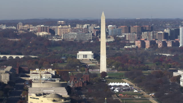 aerial of washington dc - smithsonian institution stock videos & royalty-free footage