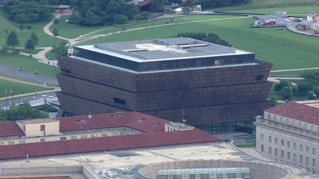aerial of washington dc with the national museum of african american history and culture part of the smithsonian institution - smithsonian institution video stock e b–roll
