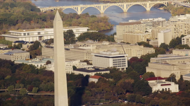 Aerial of Washington Monument, beautiful morning, Washington D.C.