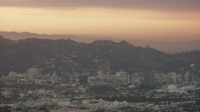 aerial of west hollywood, sunset los angeles ca - west hollywood stock-videos und b-roll-filmmaterial