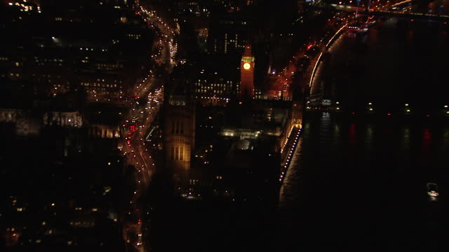 aerial of westminster and houses of parliament - big ben stock-videos und b-roll-filmmaterial