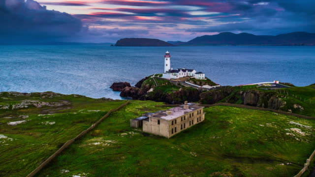 Aerial of White Lighthouse, Fanad Head, County Donegal, North Ireland