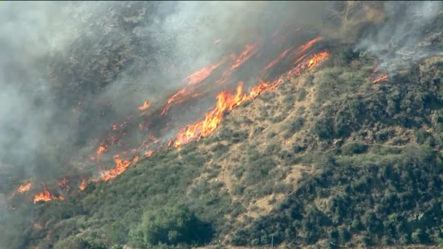ktla aerial of wildfire burning hillside on may 03 2013 in camarillo california - camarillo stock videos & royalty-free footage