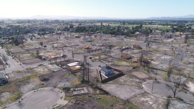 Aerial of wildfire damage in Coffey Park, Santa Rosa, California