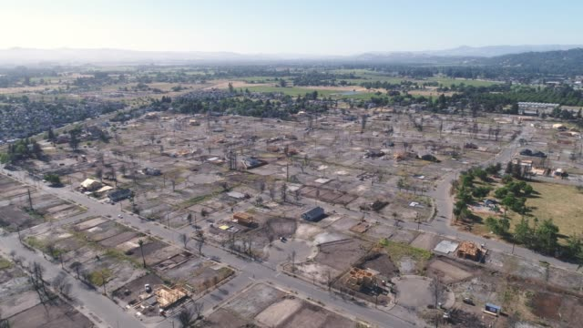 Aerial of wildfire damage in Coffey Park, Santa Rosa, California