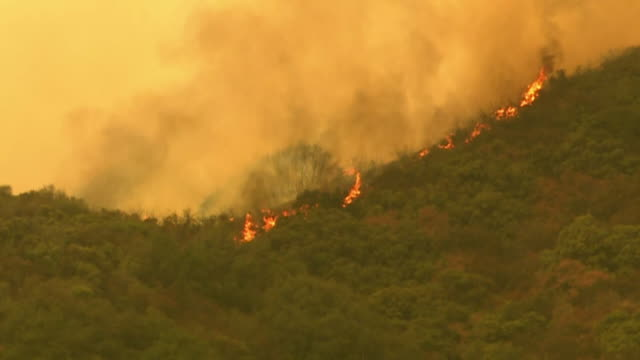 aerial of wildfires on the outskirts of los angeles, california - california stock videos & royalty-free footage