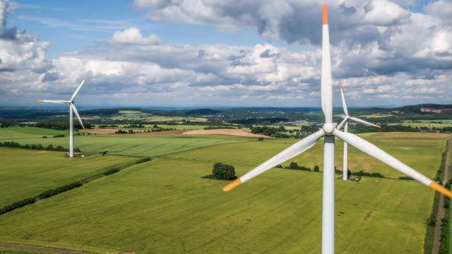 Luftaufnahmen von Windkraftanlagen