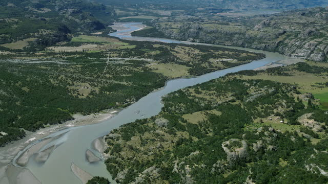 Aerial Of Winding River In Patagonia
