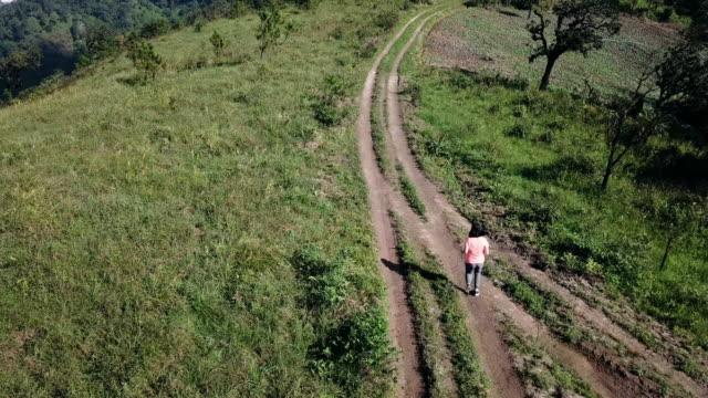 vídeos de stock e filmes b-roll de aerial of woman trail running to the top of mountain - membro humano