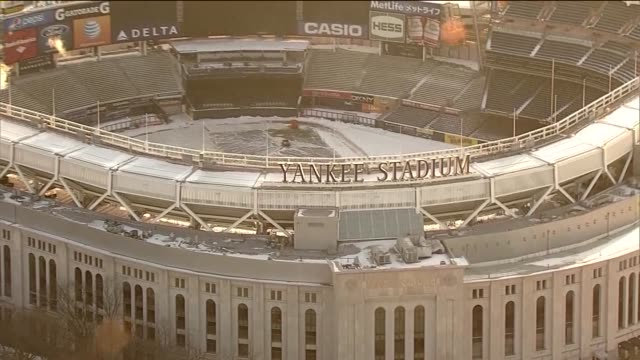 Aerial of Yankee Stadium with snow on field