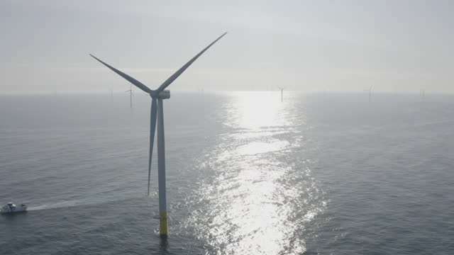 """aerial offshore wind turbine - """"bbc universal"""" stock videos & royalty-free footage"""