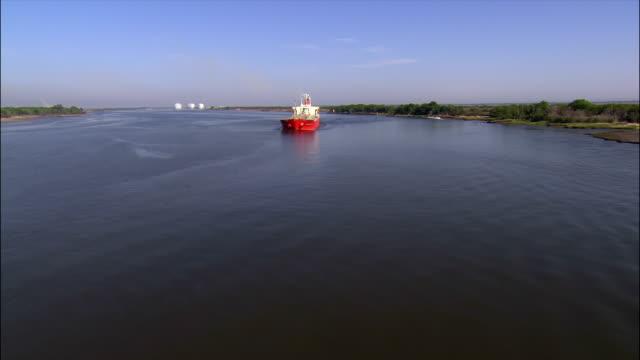 Aerial oil tanker on Savannah River/ Savannah, Georgia