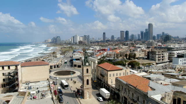aerial / old and new jaffa-tel aviv city with scenic bay in back - jaffa stock videos & royalty-free footage