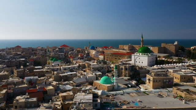 aerial: old city of acre and colorful domes on buildings - coastal feature stock videos & royalty-free footage