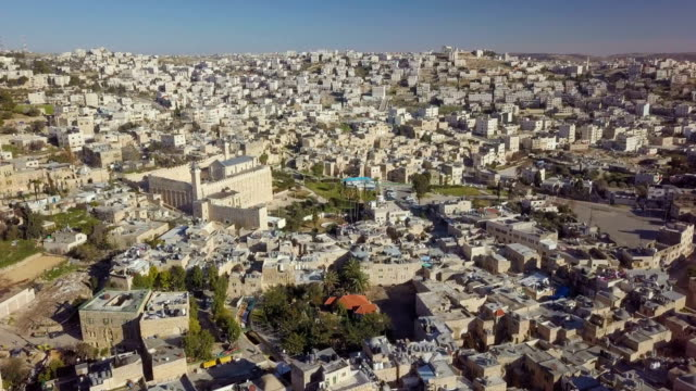 aerial / old city of hebron with the cave of the patriarchs, also called the cave of machpelah - sanctuary city stock videos & royalty-free footage