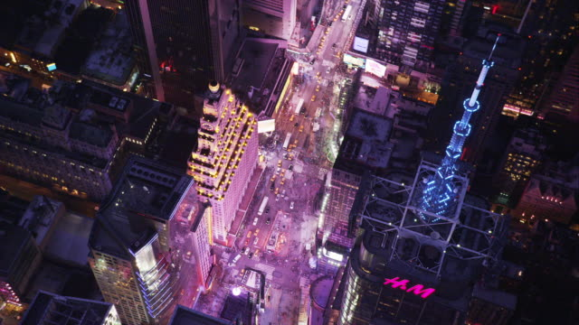 aerial orbit and birds-eye-view times square - moving towards stock videos & royalty-free footage