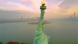 Aerial Orbiting Statue of Liberty 4k