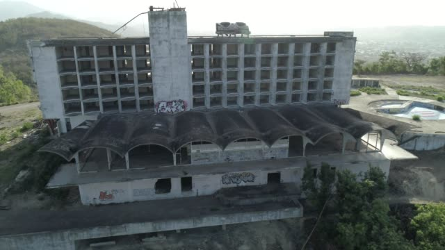 Aerial orbiting vie wof an abandoned intercontinental hotel in Ponce Puerto Rico