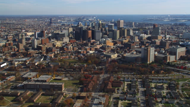 Aerial orbiting view of Baltimore, MD. Shot in 2011.