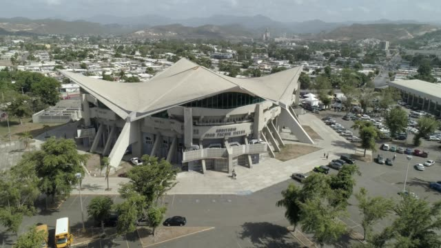 aerial orbiting view of the juan pachin vicens coliseum in ponce puerto rico - puerto rico stock videos and b-roll footage