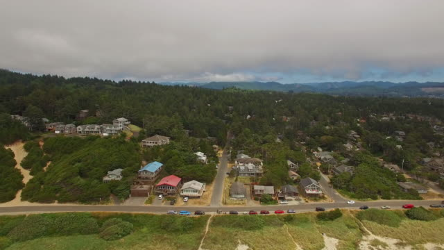 aerial oregon canon beach - oregon coast stock videos & royalty-free footage