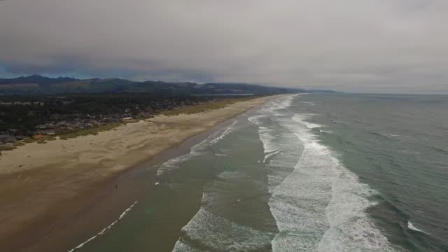 aerial oregon canon beach - oregon coast stock videos & royalty-free footage