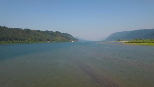 aerial oregon columbia gorge - columbia river gorge stock videos & royalty-free footage
