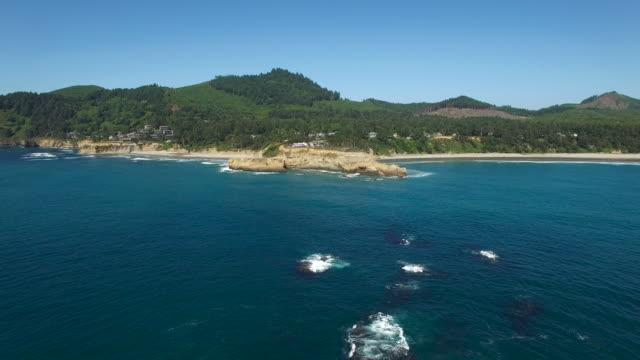 aerial oregon newport beach - newport oregon stock videos & royalty-free footage