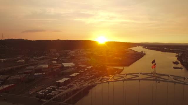 aerial oregon portland - industrial district stock videos & royalty-free footage