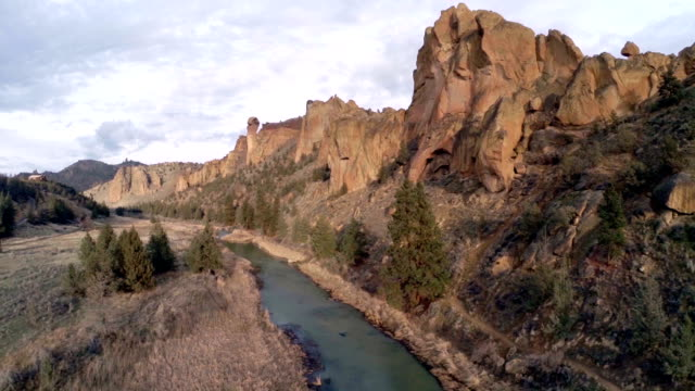 aerial oregon smith rock - state park stock videos & royalty-free footage