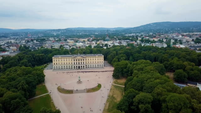 Aerial / Oslo city centre: Royal Palace, Palace Park, National Theatre, Universities, theatres and public houses