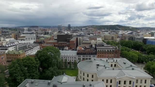 Aerial / Oslo city centre: Universities, theatres and public houses