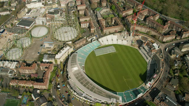 aerial oval cricket ground closed due to covid19 - nhs stock videos & royalty-free footage