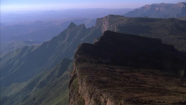 aerial over a beautiful mountainous landscape - drakensberg mountain range stock videos & royalty-free footage