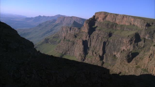 aerial over a beautiful mountainous landscapes - drakensberg mountain range stock videos & royalty-free footage