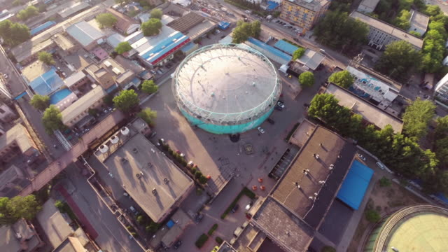 Aerial over a large Gasometer in the 751 D-Park area in Beijing