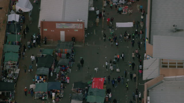 aerial over a street market in johannesburg city centre - south africa stock videos & royalty-free footage