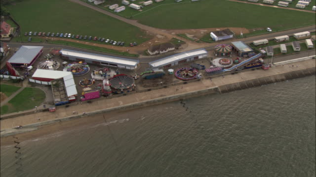 aerial over amusement park on hunstanton sea front, norfolk, uk - norfolk england stock videos & royalty-free footage