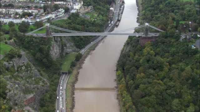 aerial over avon gorge, clifton suspension bridge and city of bristol, uk - clifton suspension bridge stock videos and b-roll footage