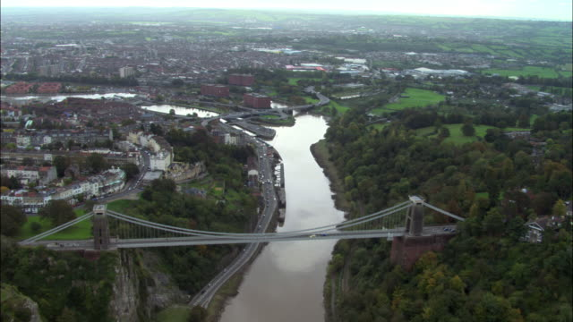 Aerial over Avon Gorge, Clifton Suspension Bridge and City of Bristol, UK